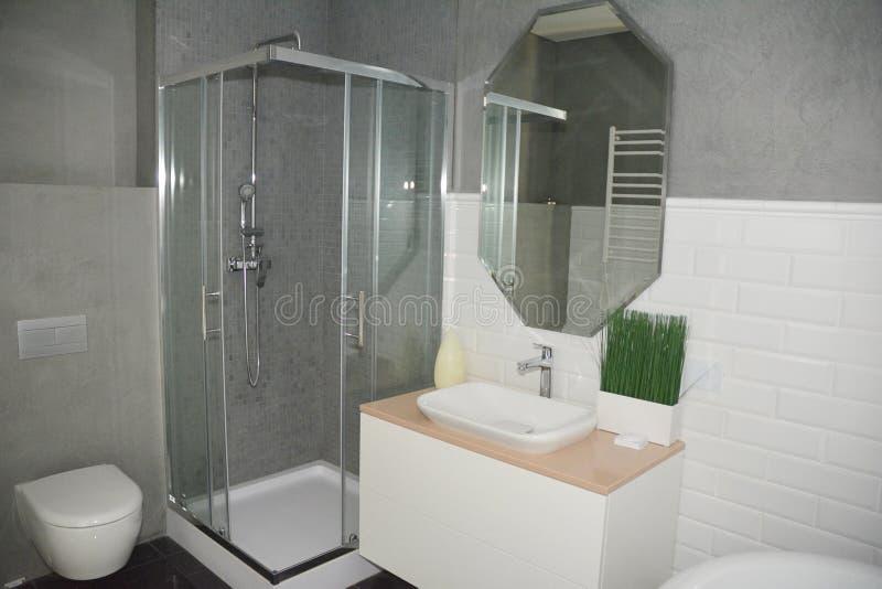 Den gråa badruminre med duschen stannar med glasväggar, spegelbadvasken, fauset, wc handduk f?r badrumbunkeinterior arkivbild