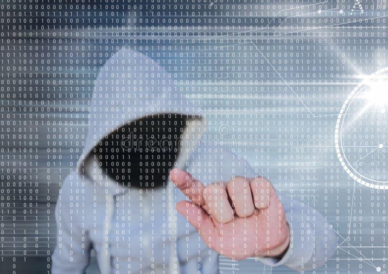 Den gråa förklädeen hacker med ut vänder mot Bakgrund för grå och binär kod vektor illustrationer