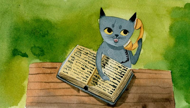 Den gråa katten med ett telefonarkiv talar på telefonen, royaltyfri illustrationer