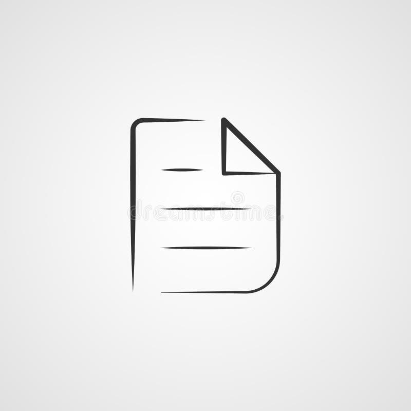 Den gråa pappers- konturn för vektorn för anteckningsbokanmärkningssymbolen, dokumentillustration isolerade bakgrund royaltyfri illustrationer