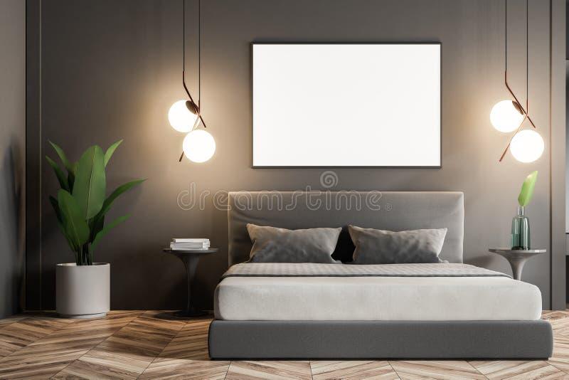 Den gråa sovruminre, förlöjligar upp affischen stock illustrationer