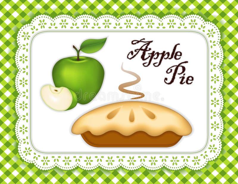 Den gröna äppelpajen, snör åt den matta för Doilyställe gröna kontrollen vektor illustrationer