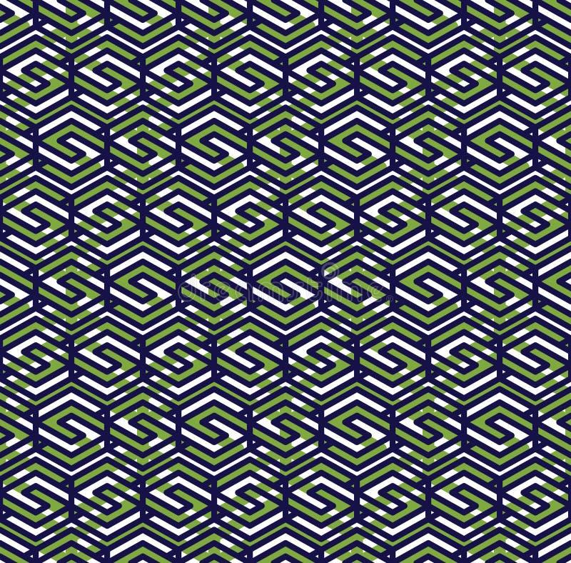 Den gröna abstrakta sömlösa modellen med väver samman linjer Vektor ov royaltyfri illustrationer