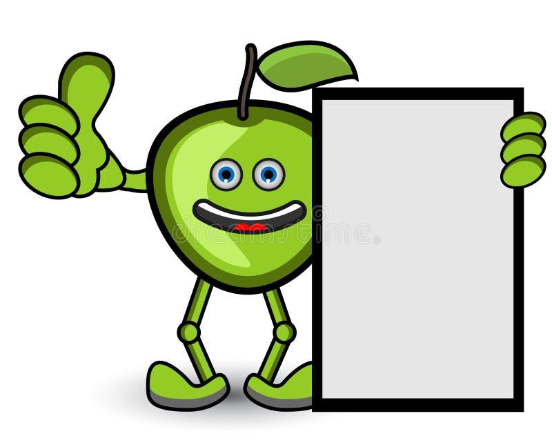 Den gröna Apple banertummen poserar upp vektor illustrationer