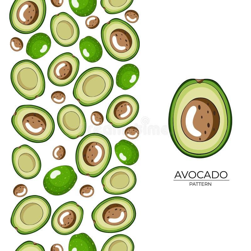 Den gröna avokadot halverar den sömlösa modellen på vit bakgrund royaltyfri illustrationer