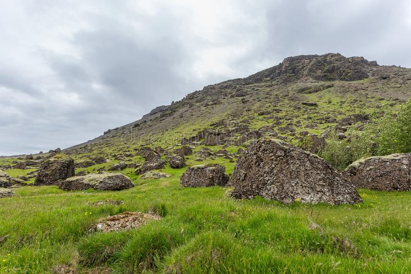 Den gröna berglutningen på Island täckte vid gräs med stort vaggar i förgrund fotografering för bildbyråer