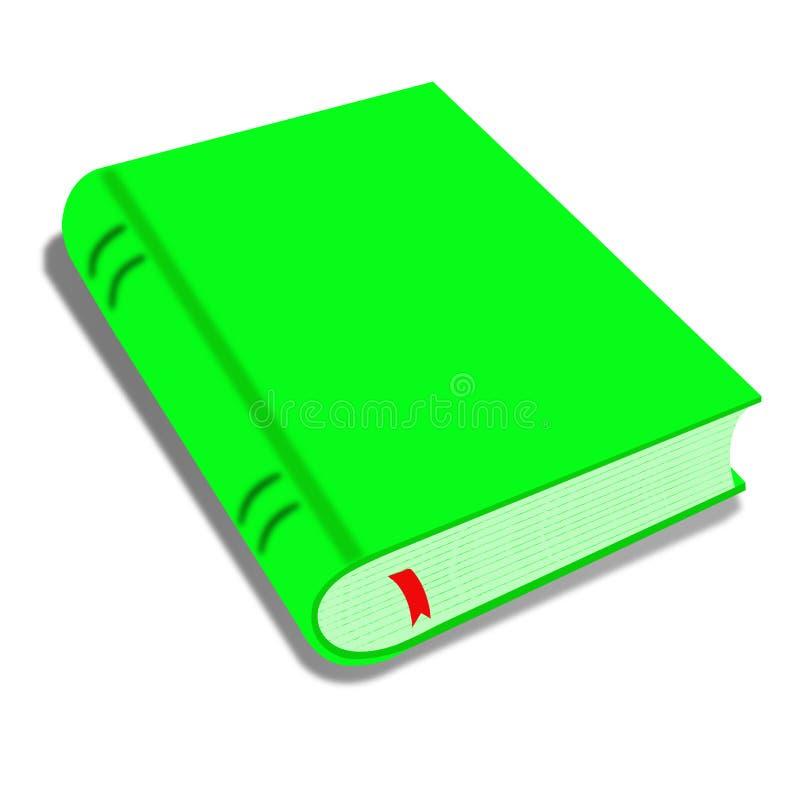 Den gröna boken som isolerades på den vita illustrationen av en tecknad filmmellanrumsgräsplan, täckte boken som isolerades på vi vektor illustrationer