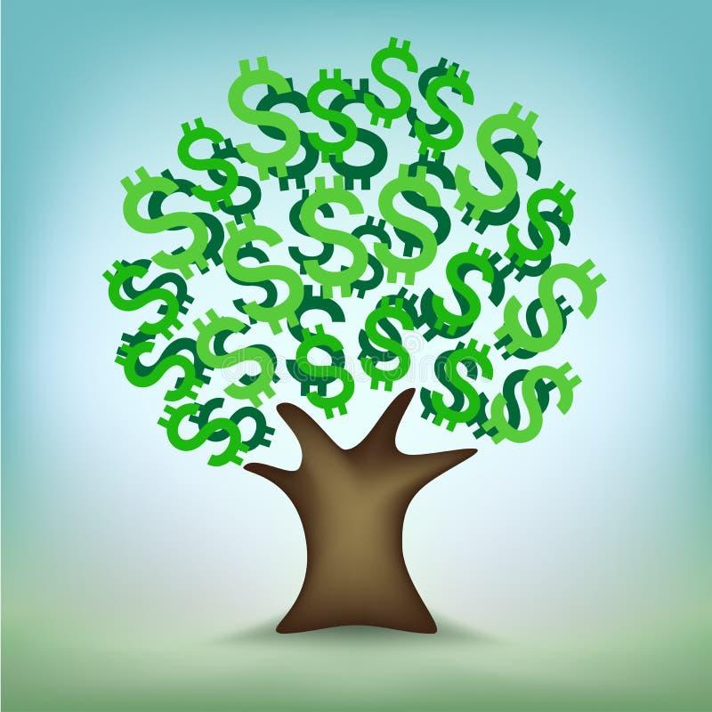 Den gröna dollaren lämnar pengarträdet stock illustrationer