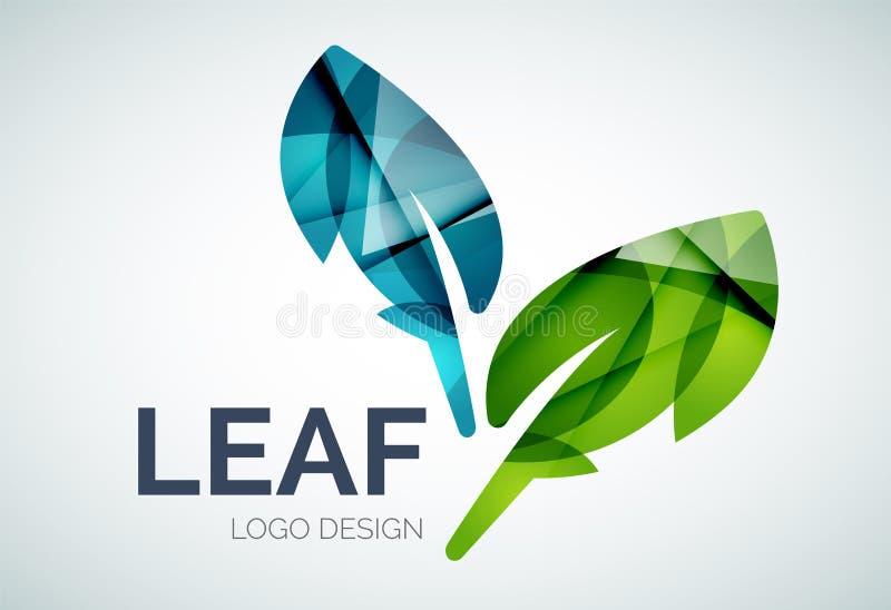 Den gröna ecoen lämnar logo gjord av färgstycken stock illustrationer