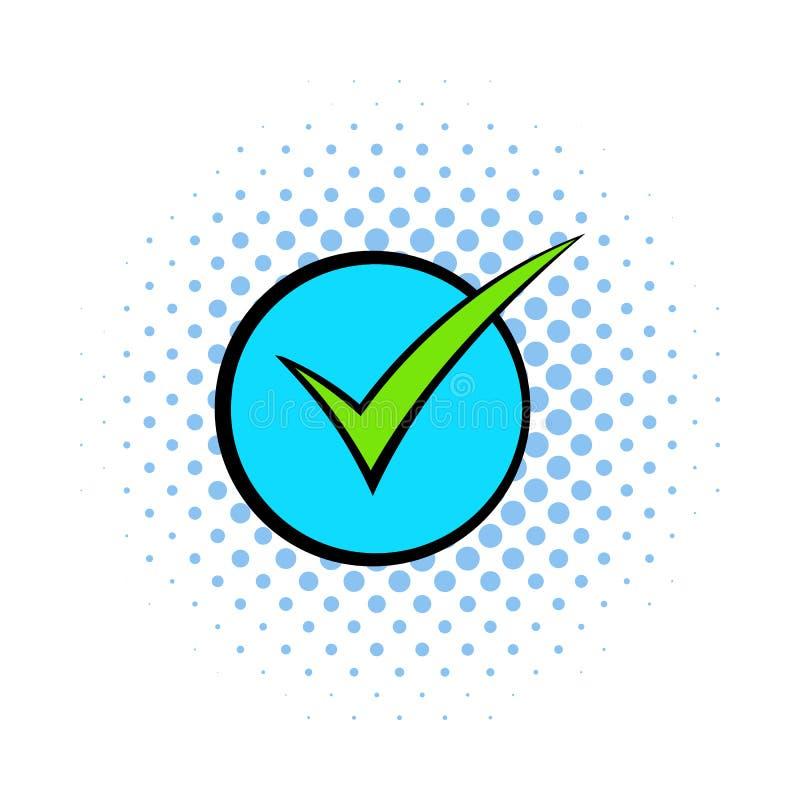 Den gröna fästingen, symbolen för kontrollfläcken, komiker utformar royaltyfri illustrationer