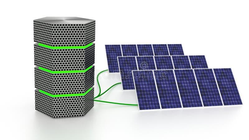 Den gröna glödande serveren förband till tre isolerade solpaneler stock illustrationer