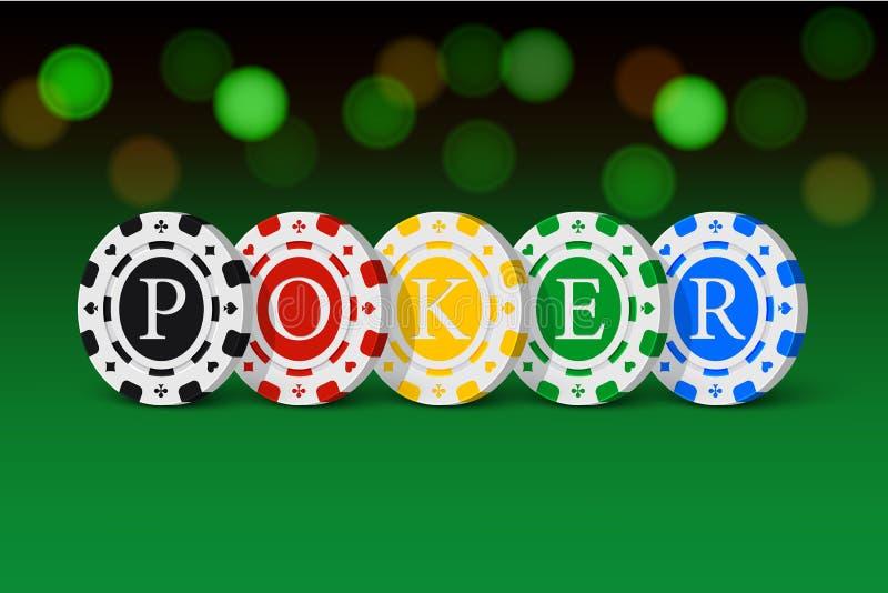 Den gröna kasinotabellen med POKERordet som göras av kasino, gå i flisor Vektordobbleriillustration stock illustrationer