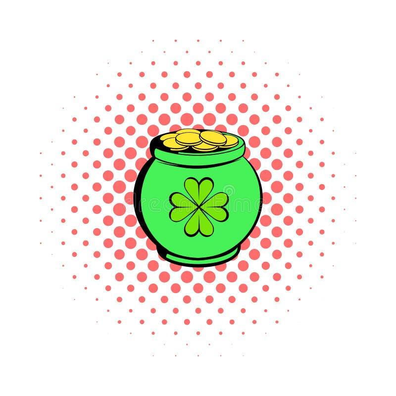 Den gröna krukan mycket av den guld- symbolen, komiker utformar vektor illustrationer