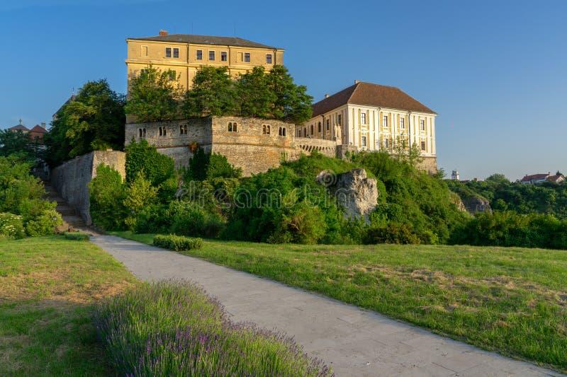 Den gröna kullen arbeta i trädgården baken av slottområdet i Veszprem, Ungern royaltyfria bilder