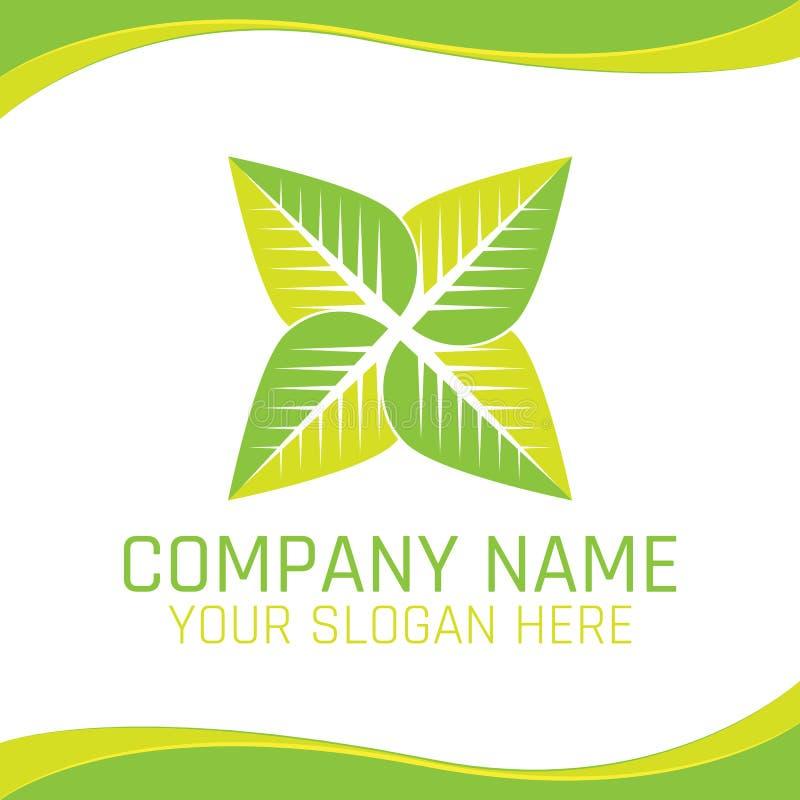 Den gröna logoen för strikt vegetarian för den bladEco naturen för ekologiföretag eller hälsokost shoppar vektor illustrationer