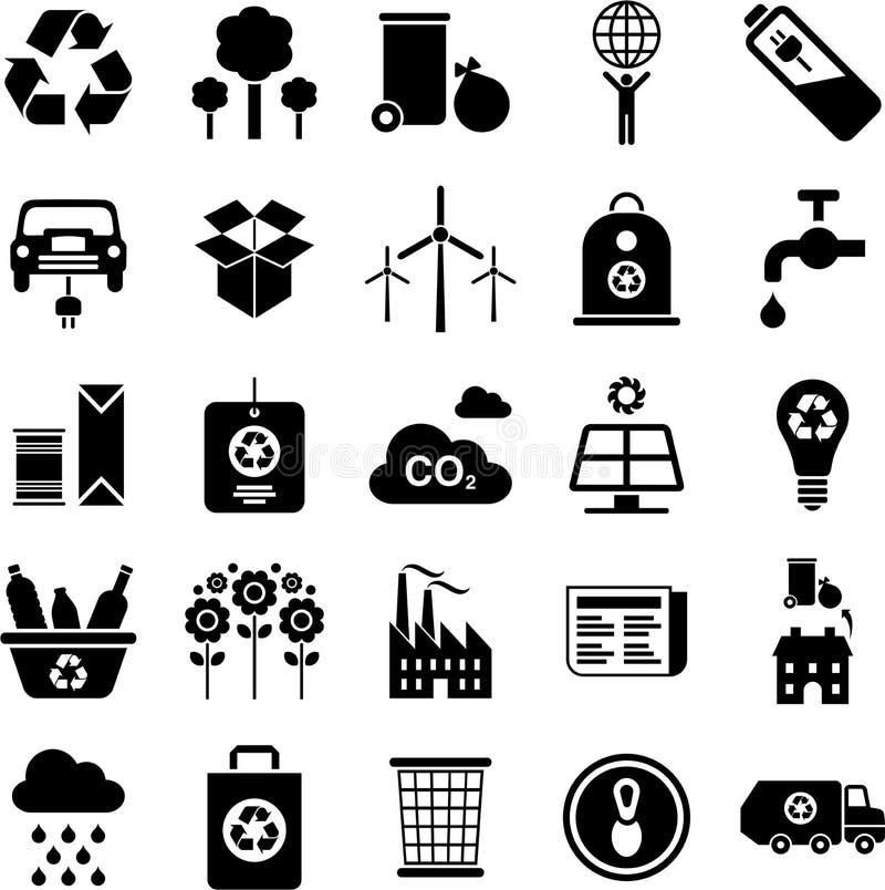 Den gröna miljön och återanvänder symboler royaltyfri illustrationer