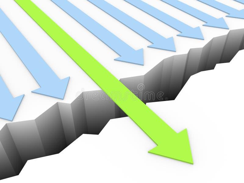 Den gröna pilen går till och med brytningen vektor illustrationer