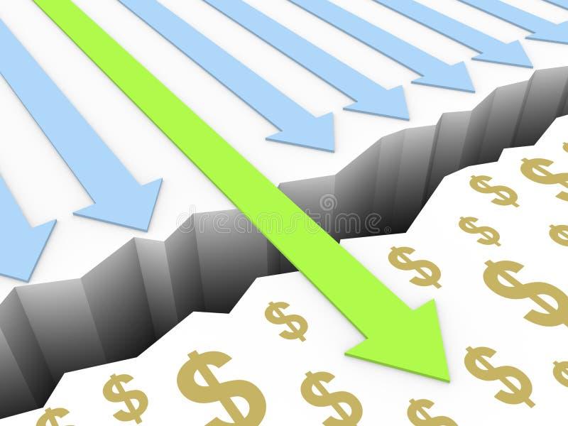 Den gröna pilen går till och med brytningen till dollartecken royaltyfri illustrationer