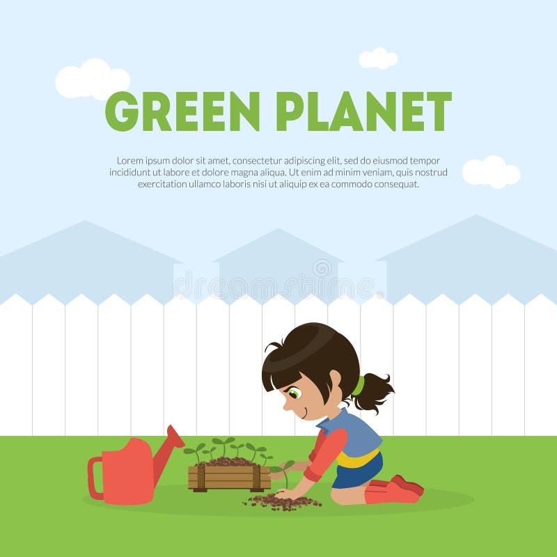 Den gröna planetbanermallen med den gulliga flickan ställa upp som frivillig plantera trädet i trädgårdvektorillustration stock illustrationer