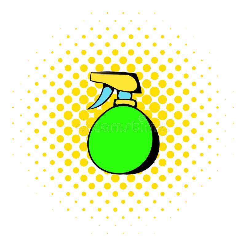 Den gröna plast- sprejflasksymbolen, komiker utformar stock illustrationer