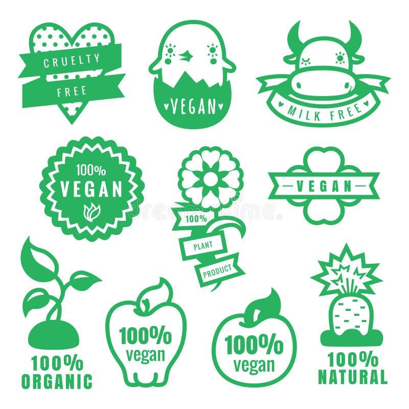 Den gröna strikt vegetarian, grymhet frigör, naturliga och organiska produktklistermärkear och symboler i vektor royaltyfri illustrationer