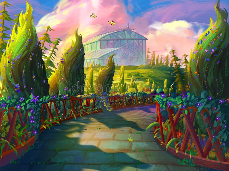 Den gröna trädgården med blommaväxthuset med fantastisk, realistisk och futuristisk stil royaltyfri illustrationer