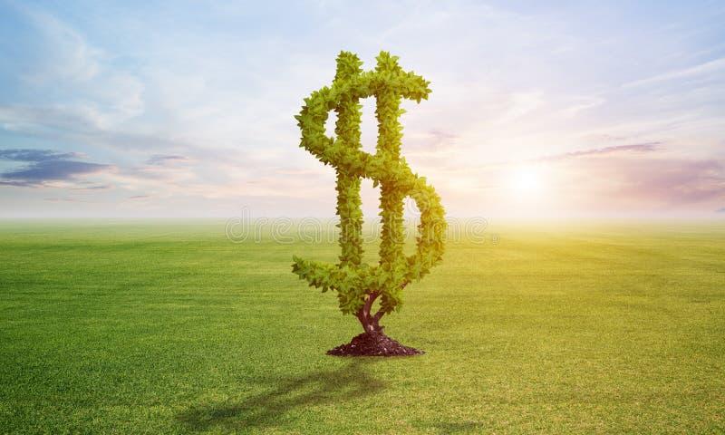Den gröna växten i form av dollartecknet växer på fältet stock illustrationer