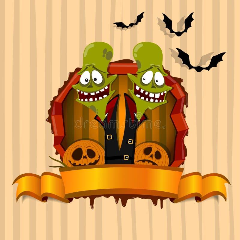 Den gröna zombien på det Halloween temat stock illustrationer