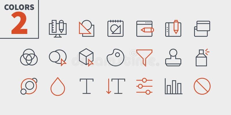 Den grafiska Brunn-tillverkade vektorn för designPIXELet Perfect fodrar thin symboler 48x48 som är klara för rastret 24x24 för re royaltyfri illustrationer