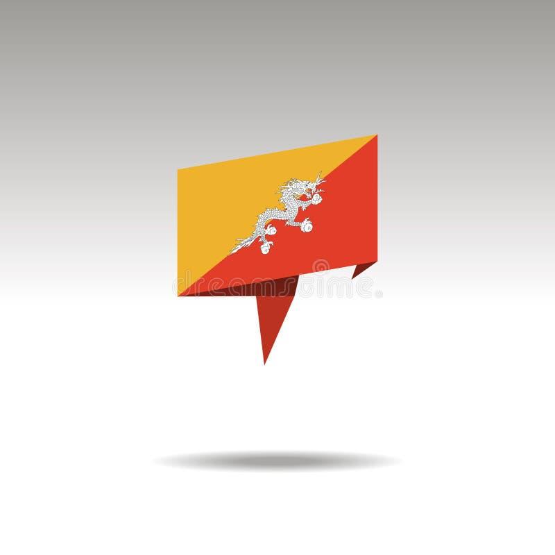 Den grafiska framställningen av lägebeteckningen i origamin utformar med en flagga BHUTAN på en grå bakgrund royaltyfri illustrationer