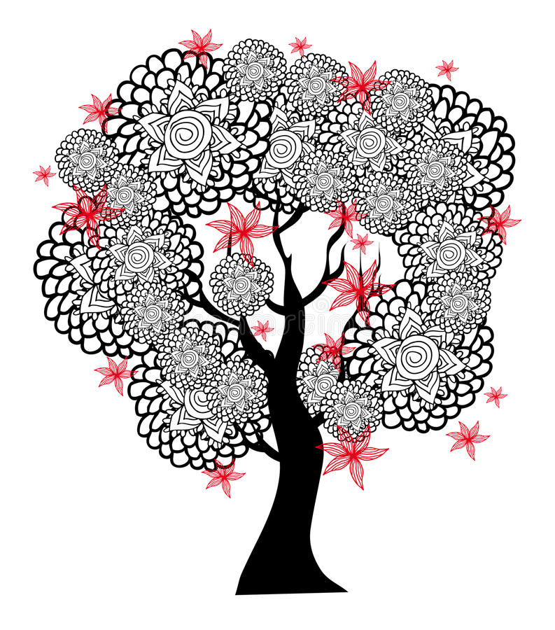 Fantastisk svartvit tree med röda blommor royaltyfri bild