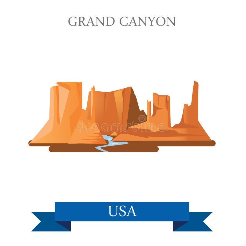 Den Grand Canyon nationalparken i Arizona förenade tillståndet vektor illustrationer