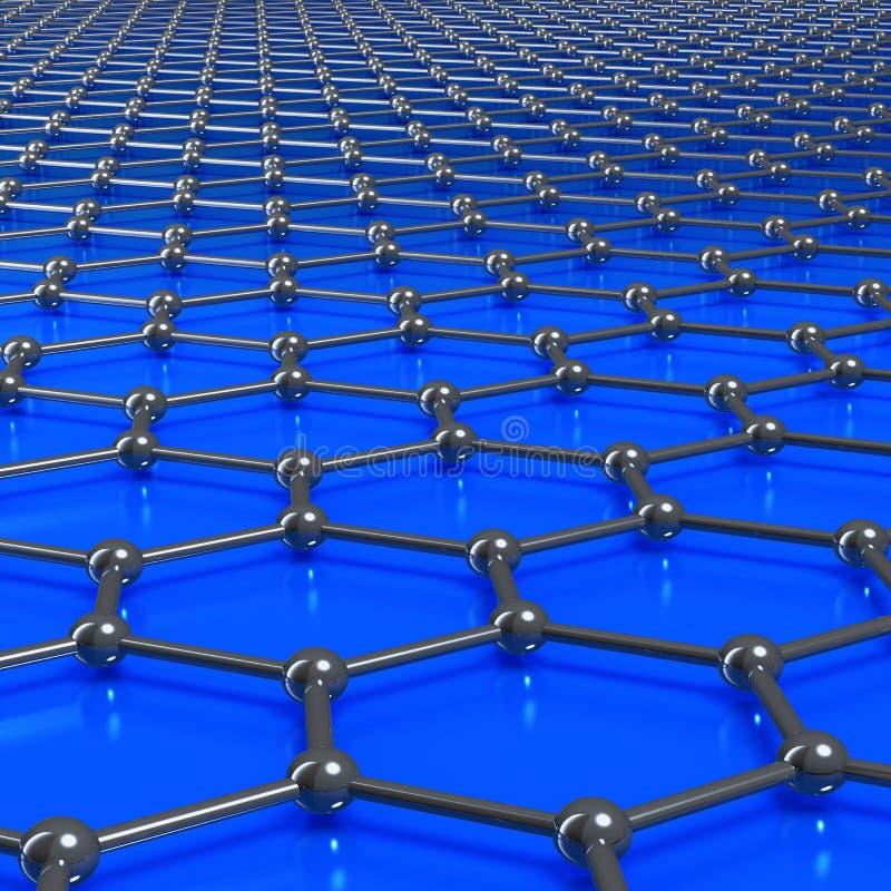 Graphene molekylar som bildar en anknuten bakgrund stock illustrationer