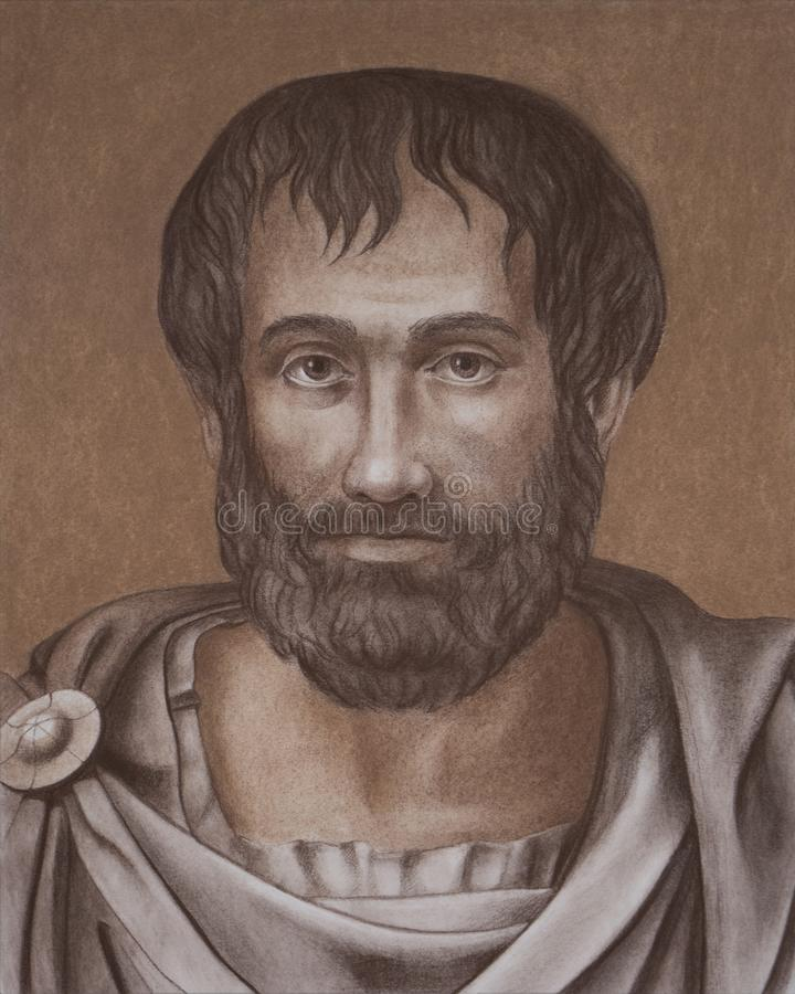 Den grekiska filosofAristotle ståenden royaltyfri illustrationer