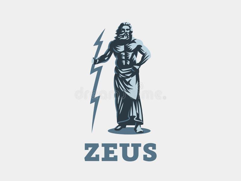 Den grekiska guden Zeus Zeus står med blixt i hans händer royaltyfri illustrationer