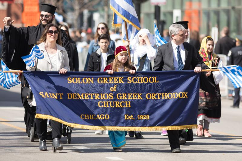 Den grekiska självständighetsdagen ståtar 2018 royaltyfri bild