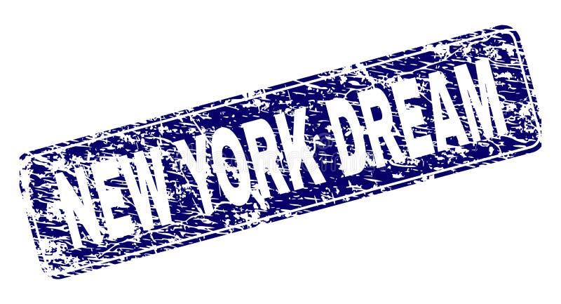 Den GrungeNEW YORK DRÖMMEN inramade den rundade rektangelstämpeln stock illustrationer