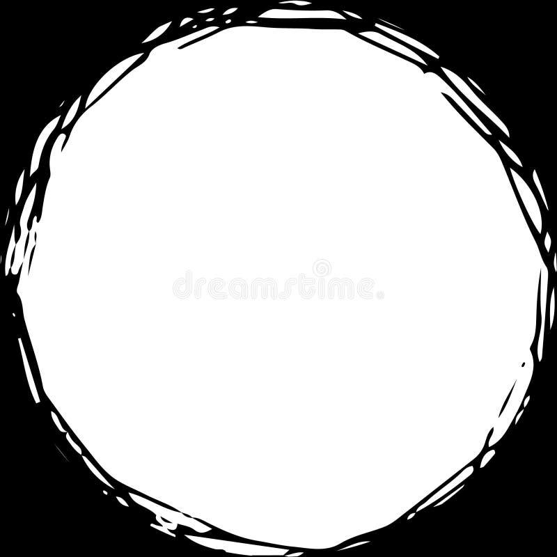Den Grungy rundan klottrar den utdragna cirkeln för handen, kan använt som ram stock illustrationer