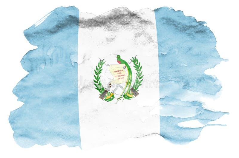 Den Guatemala flaggan visas i vätskevattenfärgstil som isoleras på vit bakgrund arkivbilder