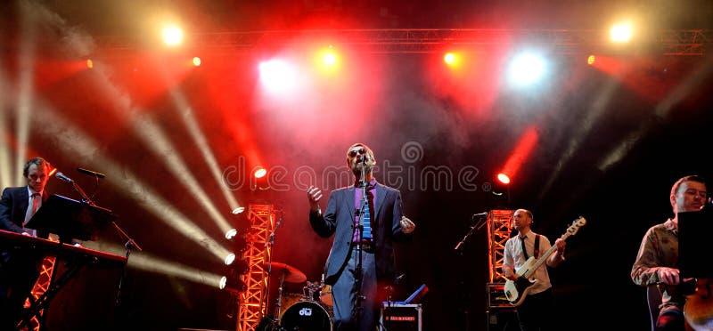 Den gudomliga levande kapaciteten för komedi (kammarepopmusikband) på den Bime festivalen royaltyfria foton