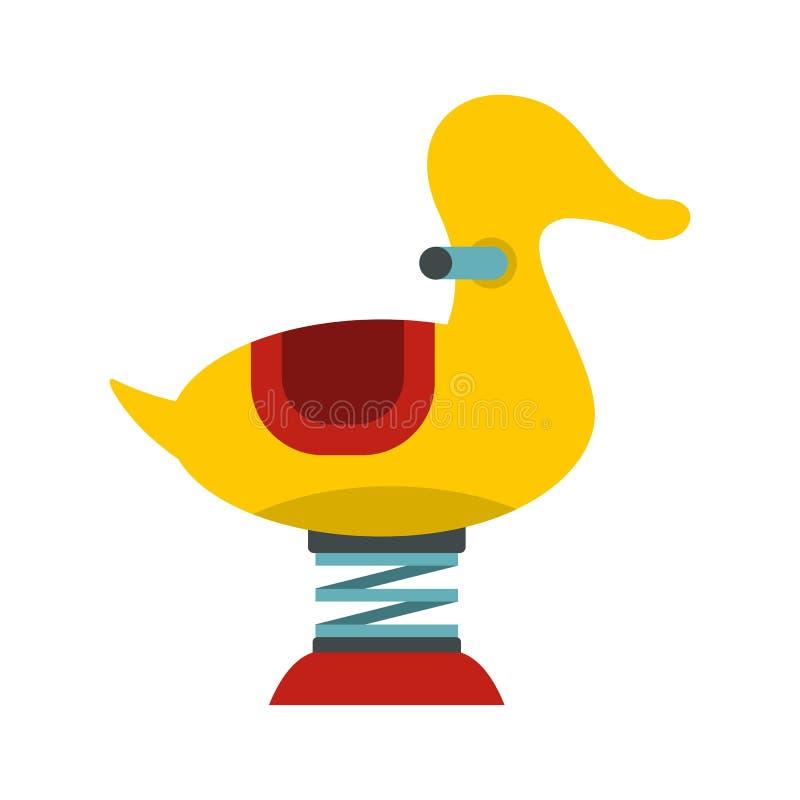 Den gula andvåren ser sågsymbolen, lägenhetstil stock illustrationer