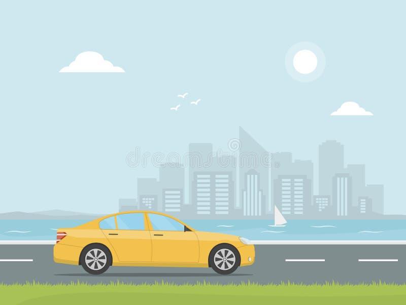 Den gula bilen rider på en huvudväg på bakgrunden av skyskrapor Tur för väg för banerbegreppsdesign lopp för toy för bilEuropa öv vektor illustrationer
