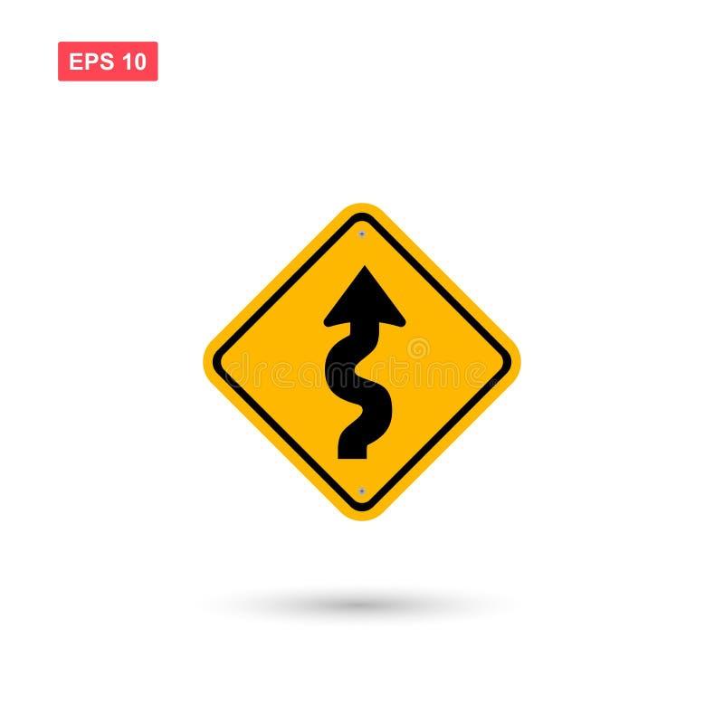 Den gula curvy rad-teckenvektorn isolerade stock illustrationer