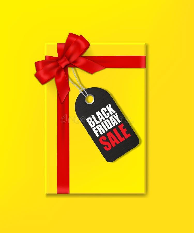 Den gula gåvaasken med det röda bandet och pilbågen och etiketten med Black Friday Sale smsar vektor illustrationer