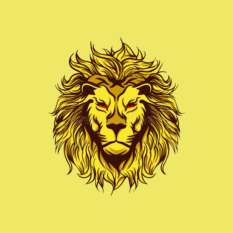 Den gula ilskna Lion Mascot stock illustrationer