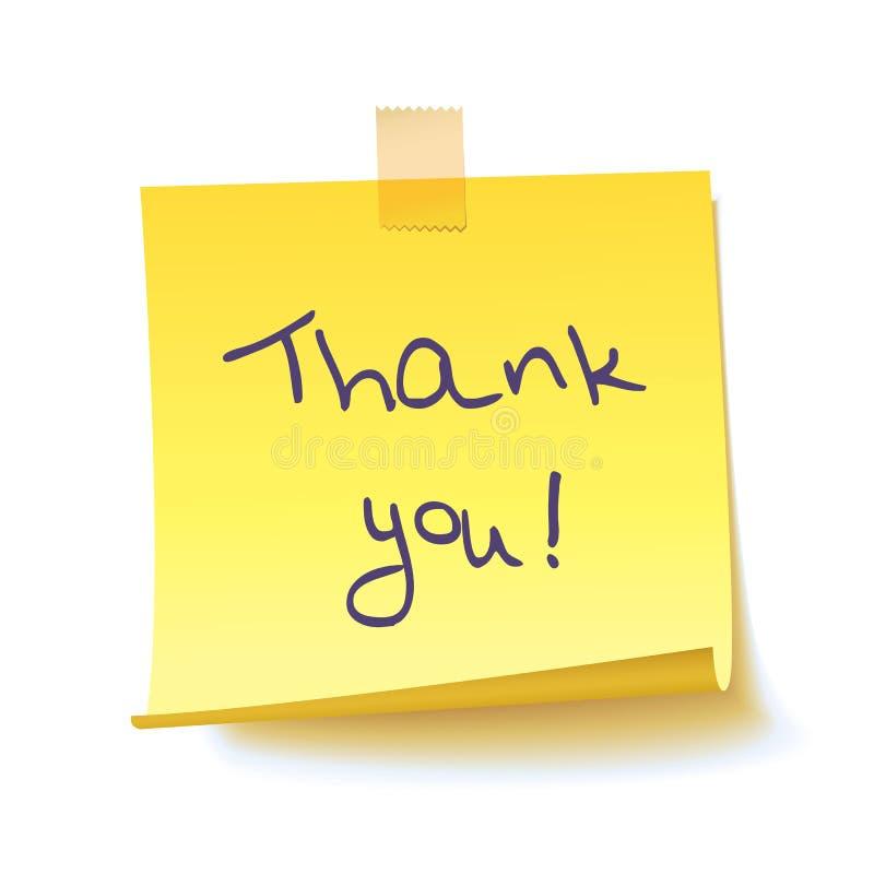 Den gula klibbiga anmärkningen med text` tackar dig! `, arkivfoton