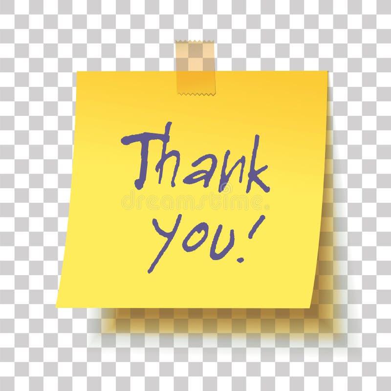 Den gula klibbiga anmärkningen med text` tackar dig! `, fotografering för bildbyråer
