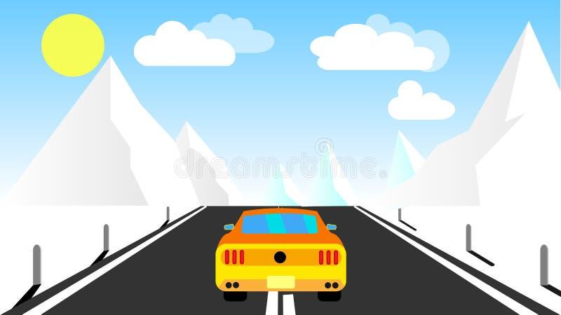 Den gula sportiga snabba härliga kraftiga bilen rider på vägen i bergen i vinter mot en bakgrund av moln och kopieringsbrunnsorte stock illustrationer