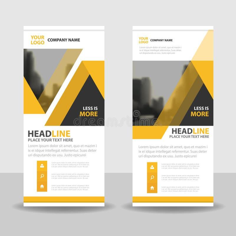 Den gula svarta triangeln rullar upp designen för banret för affärsbroschyrreklambladet, geometrisk bakgrund för räkningspresenta stock illustrationer