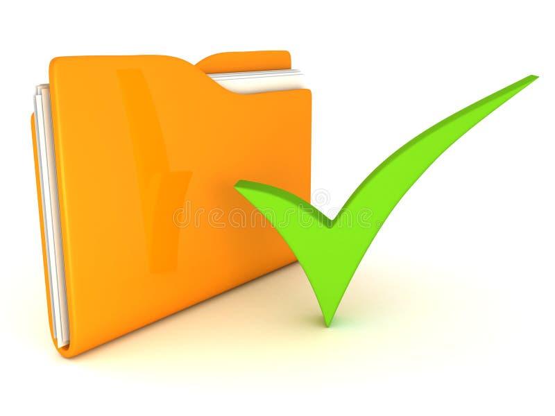 Den gula symbolen för mappen 3d med den gröna kontrollen markerar stock illustrationer